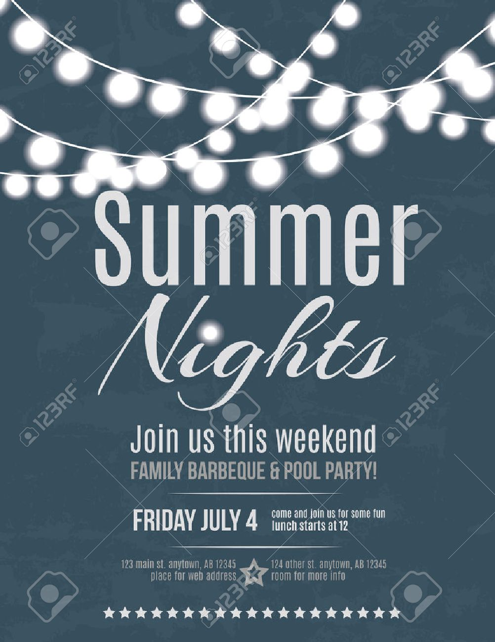 Elegant Summer Night Party Invitation Flyer Template Royalty Free ...