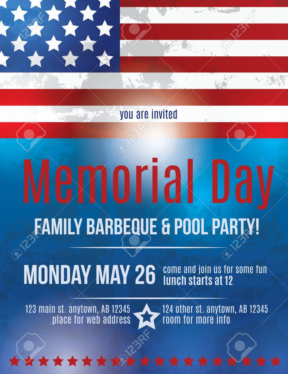 memorial day barbeque flyer background template with american flag stock vector 36210655