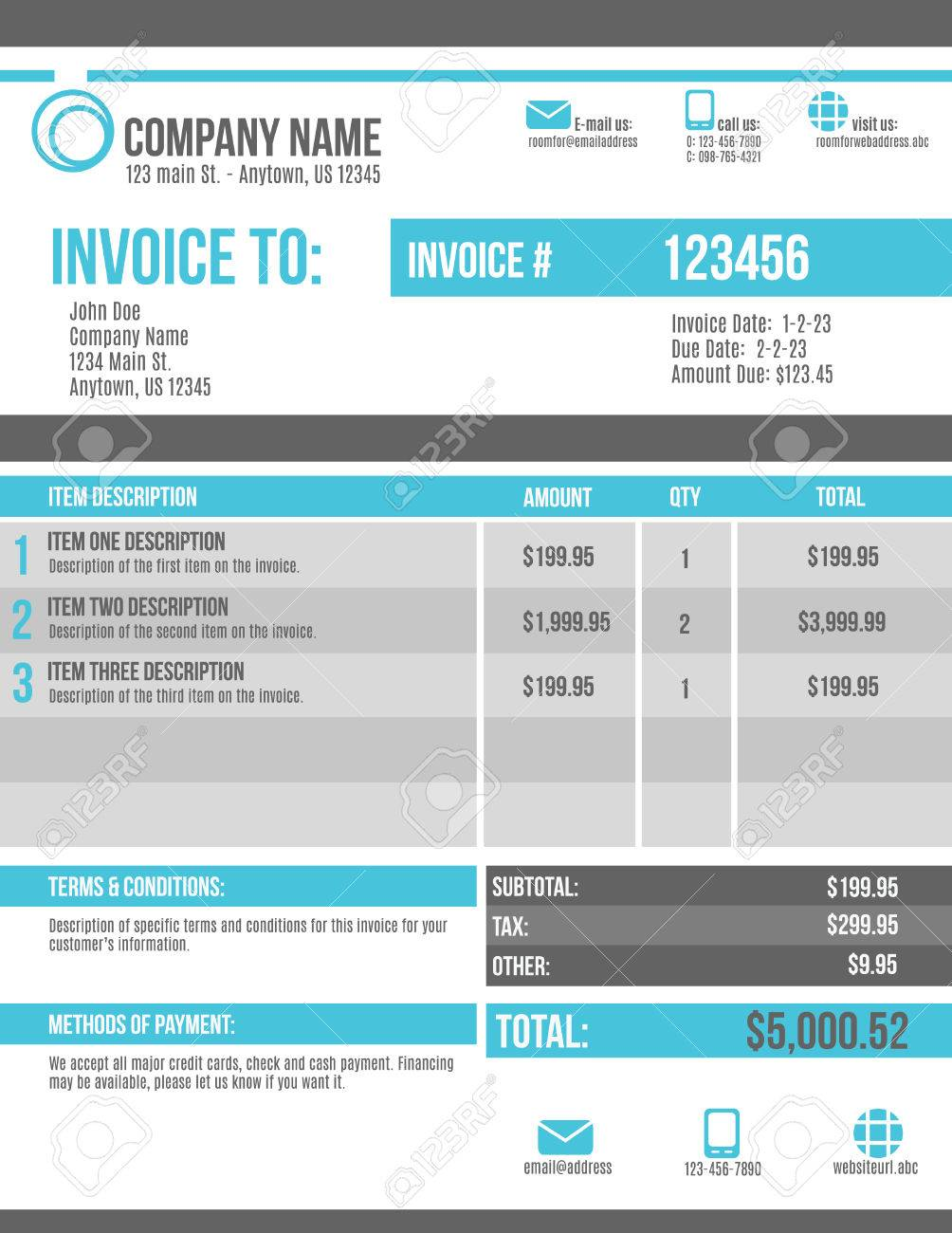 Customizable Invoice Template Design Royalty Free Cliparts, Vectors ...
