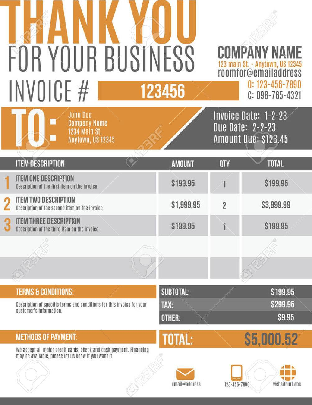 Fun And Modern Customizable Invoice Template Design Royalty Free - Invoice template design