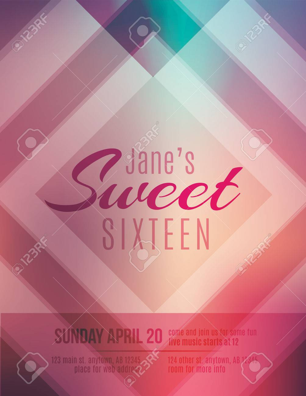 Modern And Classy Sweet Sixteen Birthday Party Invitation Template Stock Vector