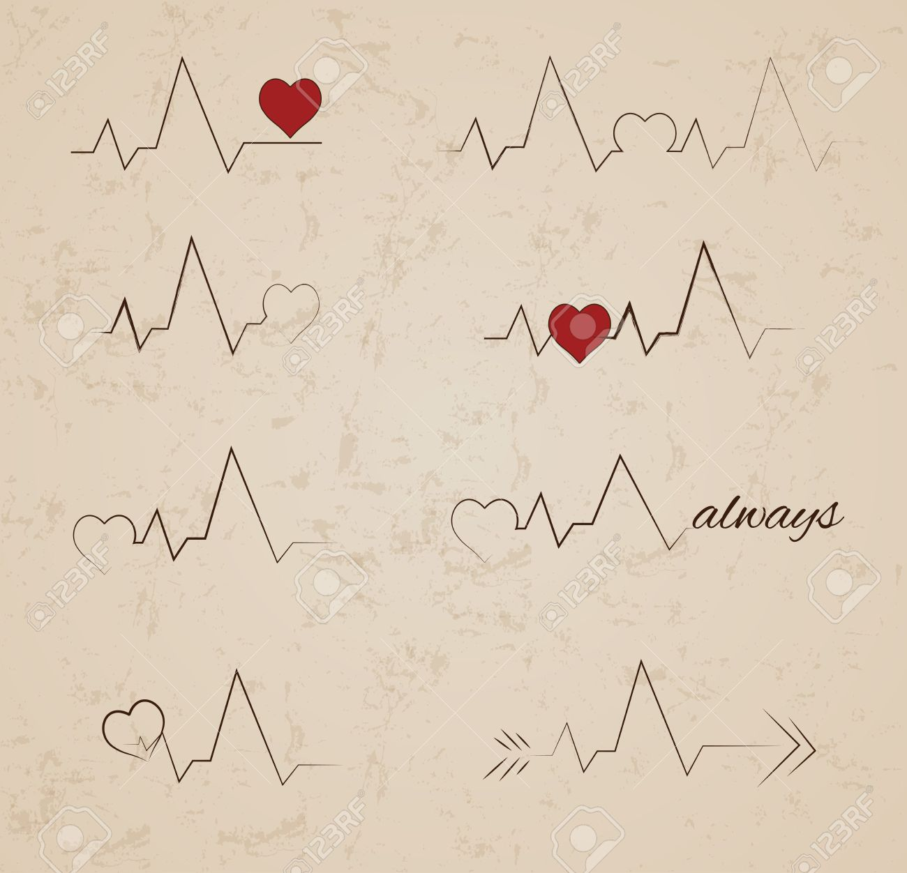 Collection Of Vector Heartbeat Tattoo Designs