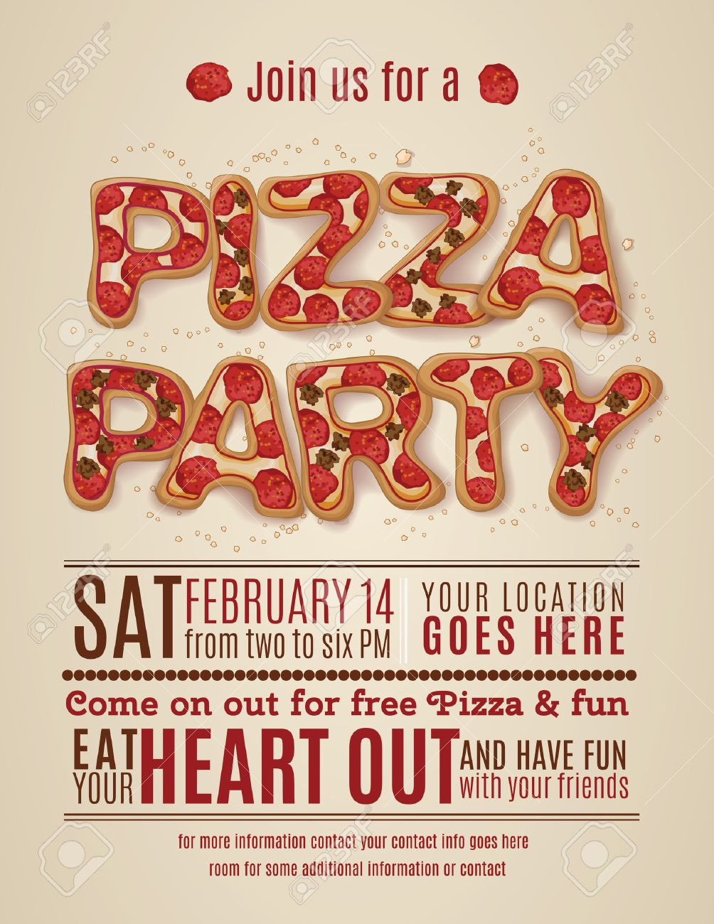 Vector Pizza Party Flyer Invitation Template Design Royalty Free