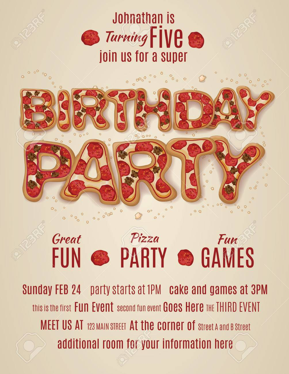 vector pizza birthday party flyer invitation template design royalty