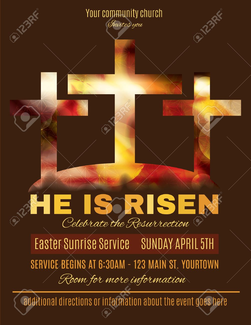 He Is Risen Easter Sunrise Service Flyer Template Royalty Free ...