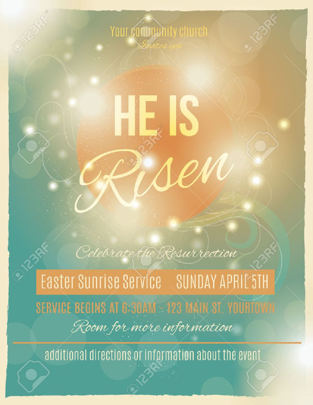 bright and shining he is risen easter sunrise service flyer or bright and shining he is risen easter sunrise service flyer or poster template stock vector