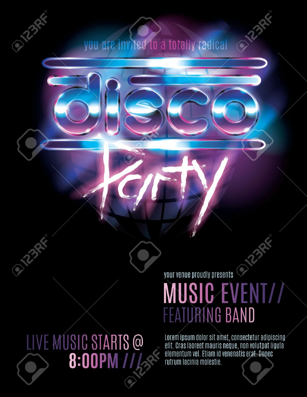 Shiny Retro 80s Party Or Disco Party Invitation Template Royalty
