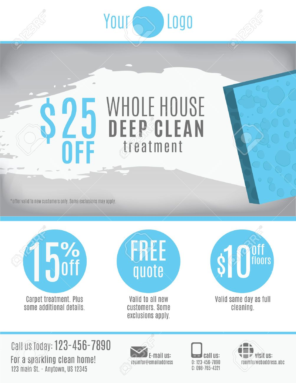 cleaning service flyer template discount coupons and cleaning service flyer template discount coupons and advertisement stock vector 37780699