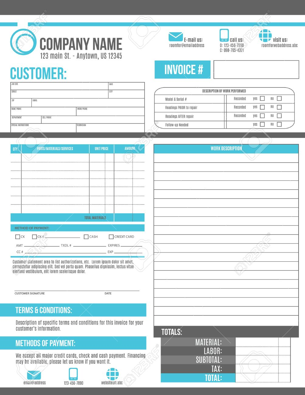 customizable invoice template design with room for a work order, Invoice templates