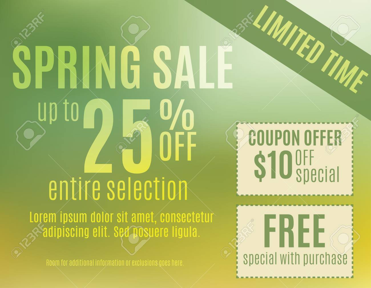 Green And Yellow Spring Event Sale Postcard Template Royalty Free - Event postcard template
