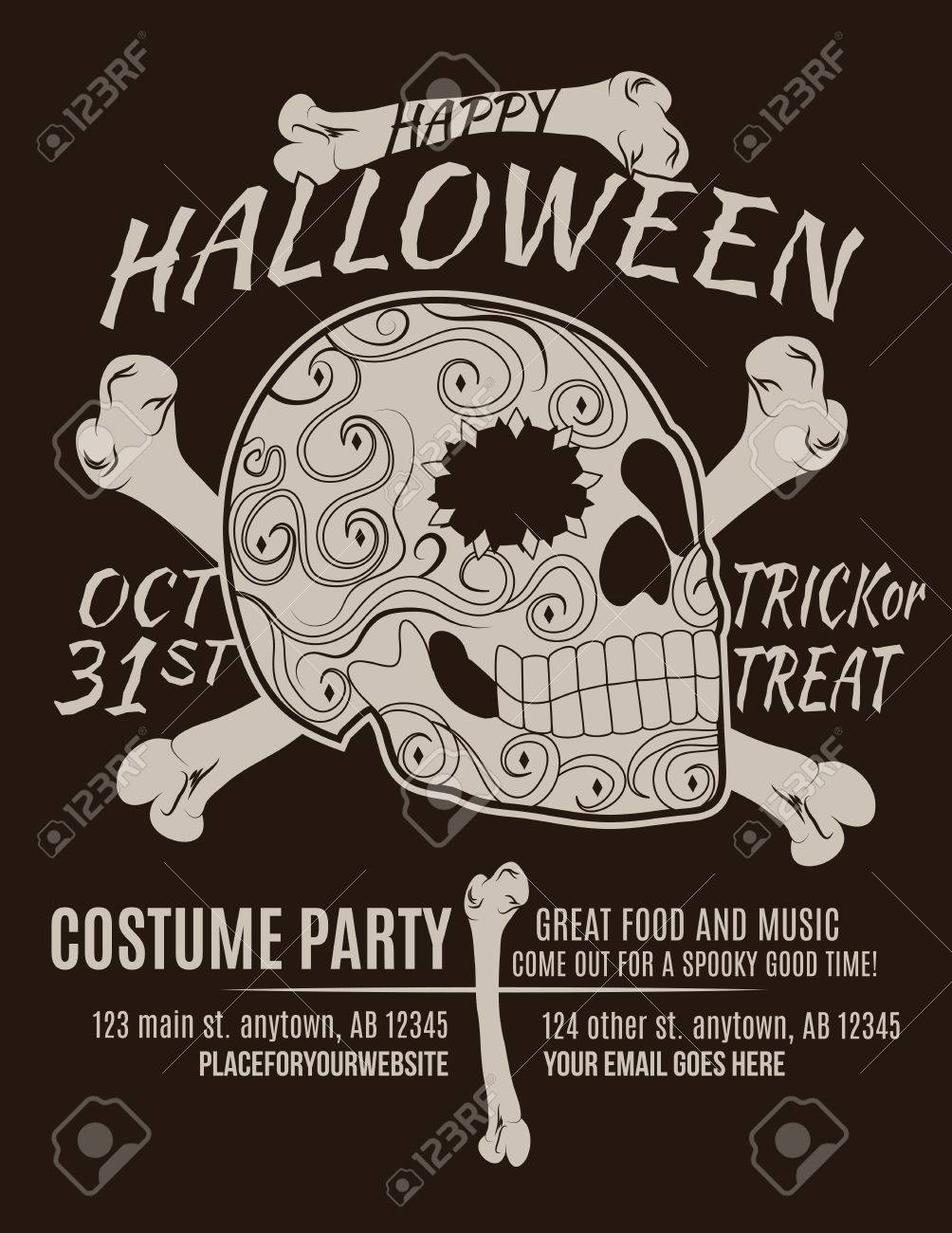 happy halloween party flyer with sugar skull and bones royalty free