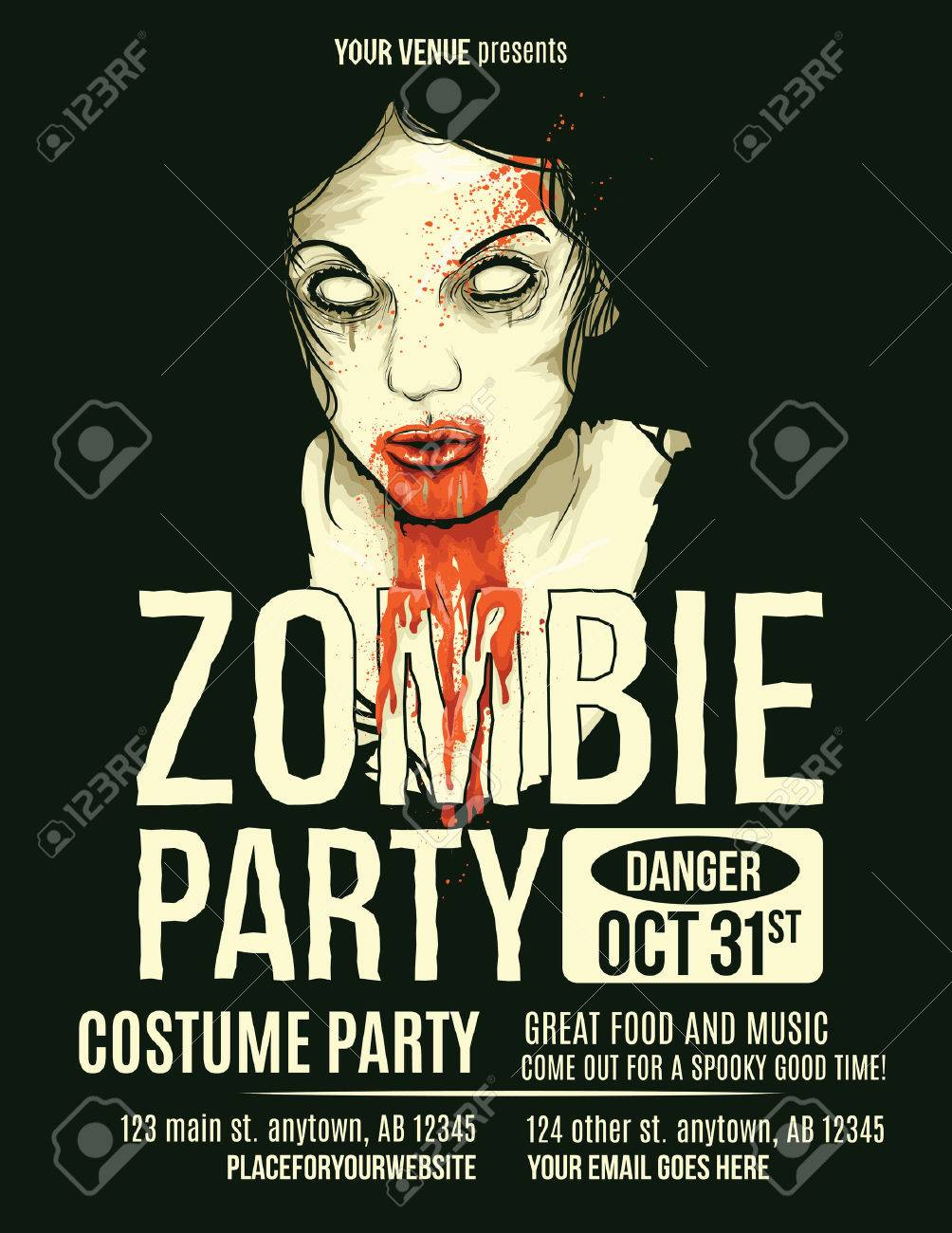 zombie party flyer with illustration of female zombie girl royalty