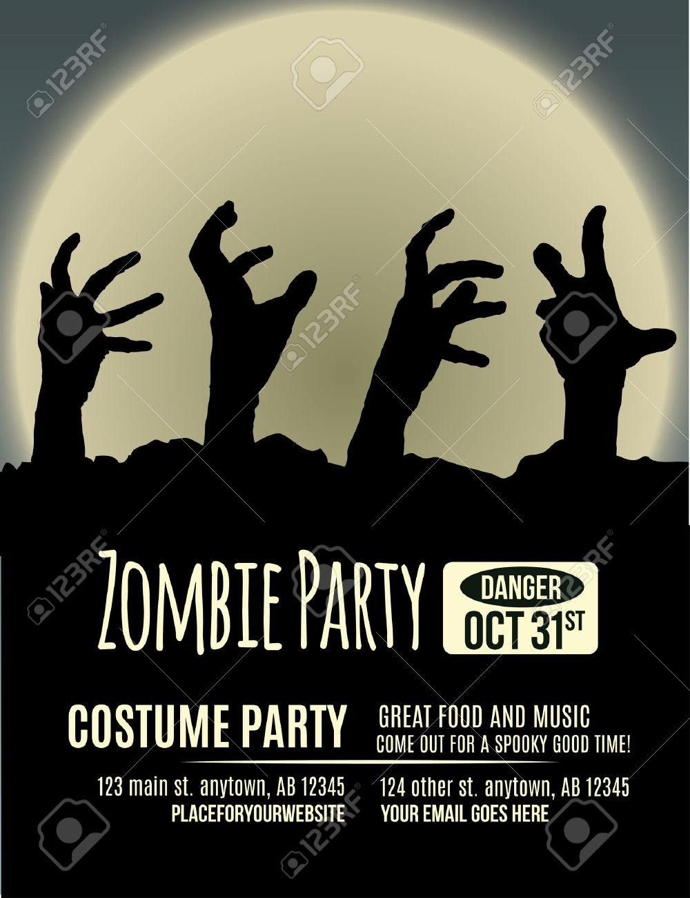 Halloween Party Invitation With Zombie Hands Coming Up Out Of ...