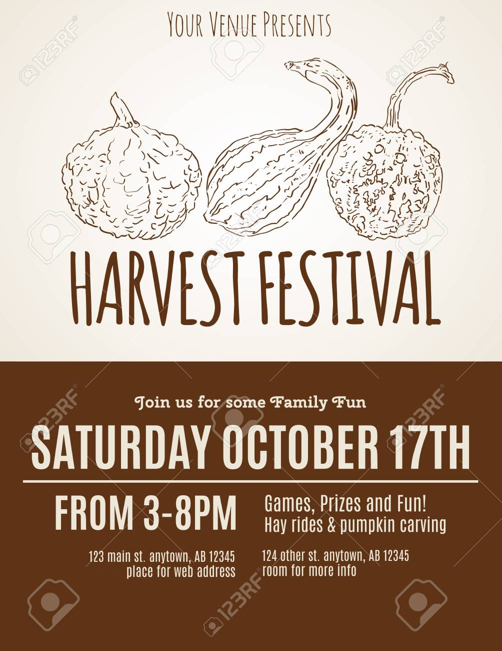 harvest festival flyer with hand drawn gourds stock vector 46998150