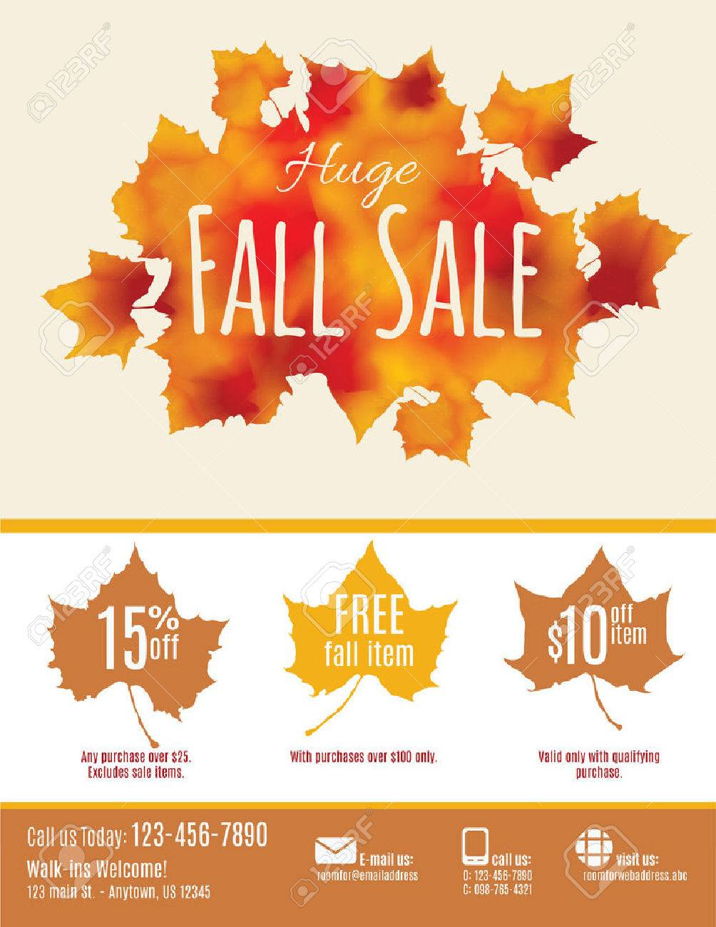 Fall Sale Flyer With Watercolor Fall Leaves Royalty Free Cliparts ...