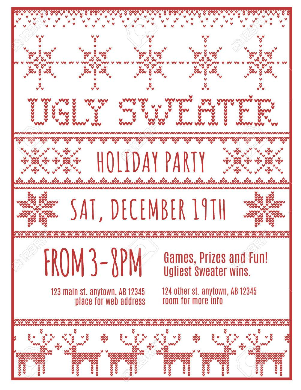 red and white ugly holiday sweater party invitation template red and white ugly holiday sweater party invitation template stock vector 48488499