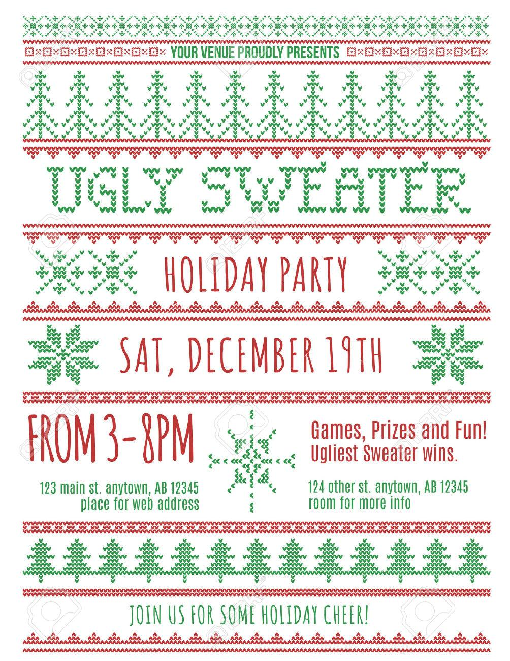 Red And Green Ugly Christmas Sweater Party Invitation Template ...