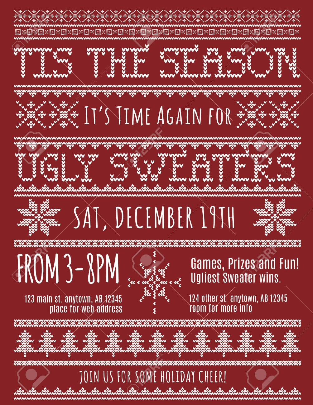 Ugly Christmas Sweater Party Invitation Template Royalty Free