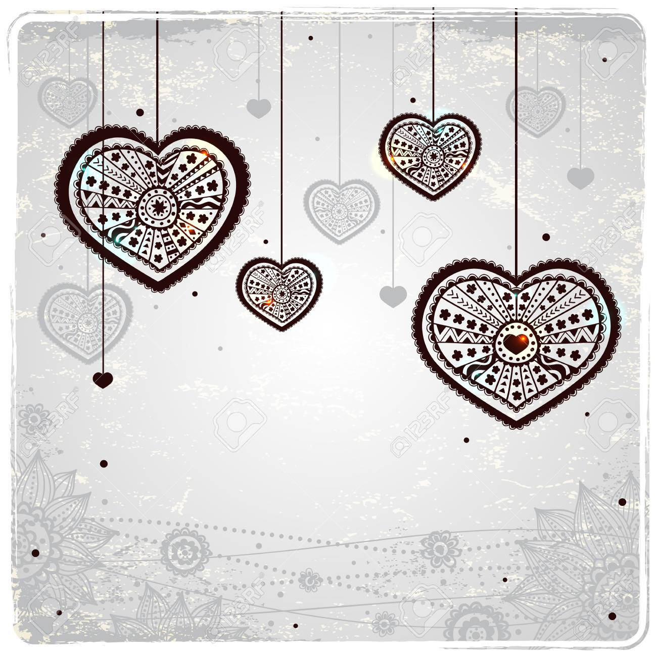 Ornamental hearts on the vintage background Stock Vector - 17571151