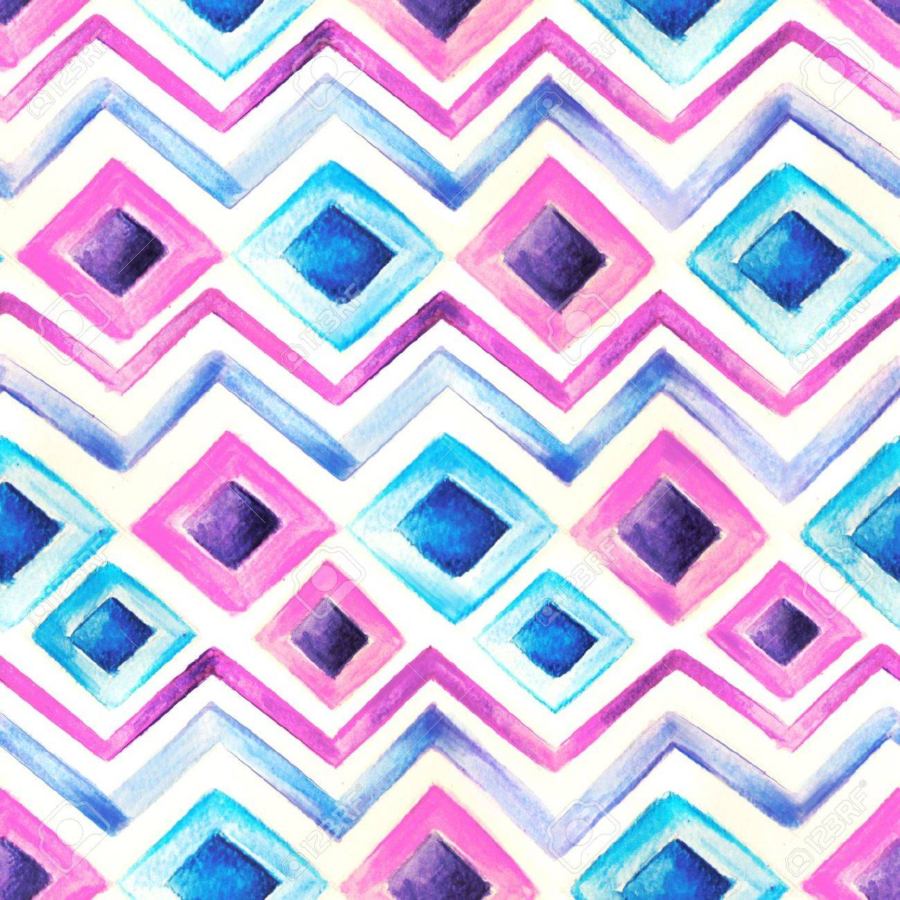 Watercolor blue and pink  pattern Stock Photo - 18458279