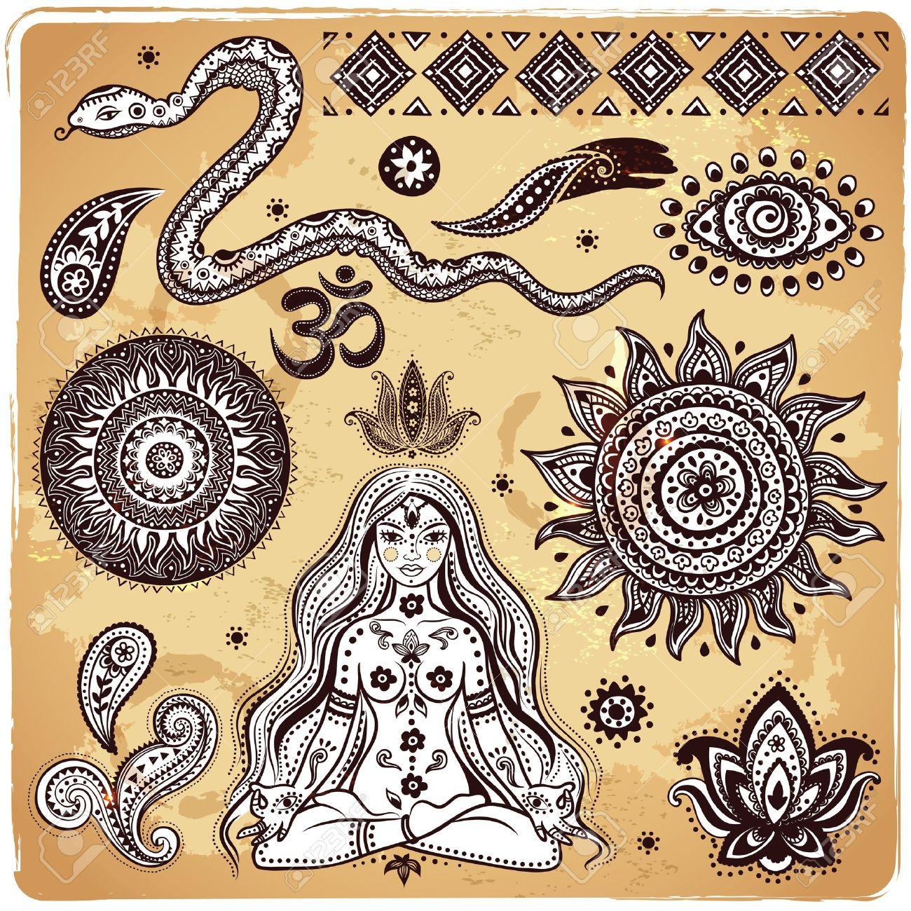 Set of ornamental Indian elements and symbols Stock Vector - 19800513