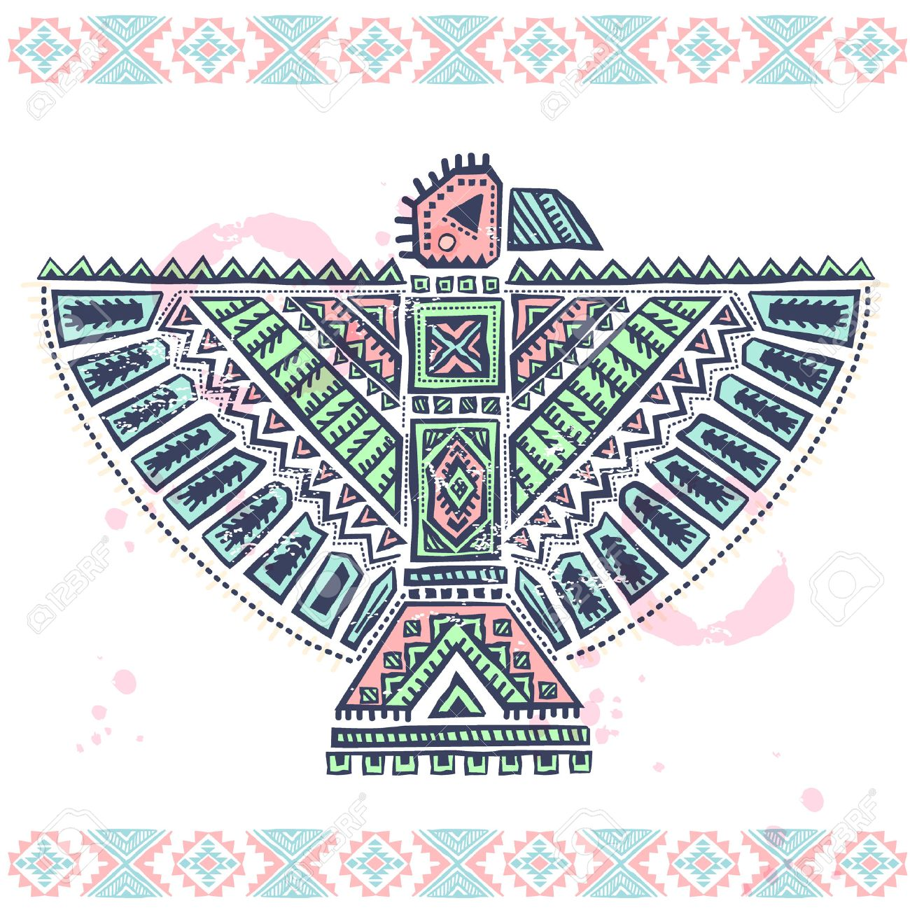 Native american ornaments - Tribal Vintage Native American Eagle Illustration With Ornaments Stock Vector 25029228
