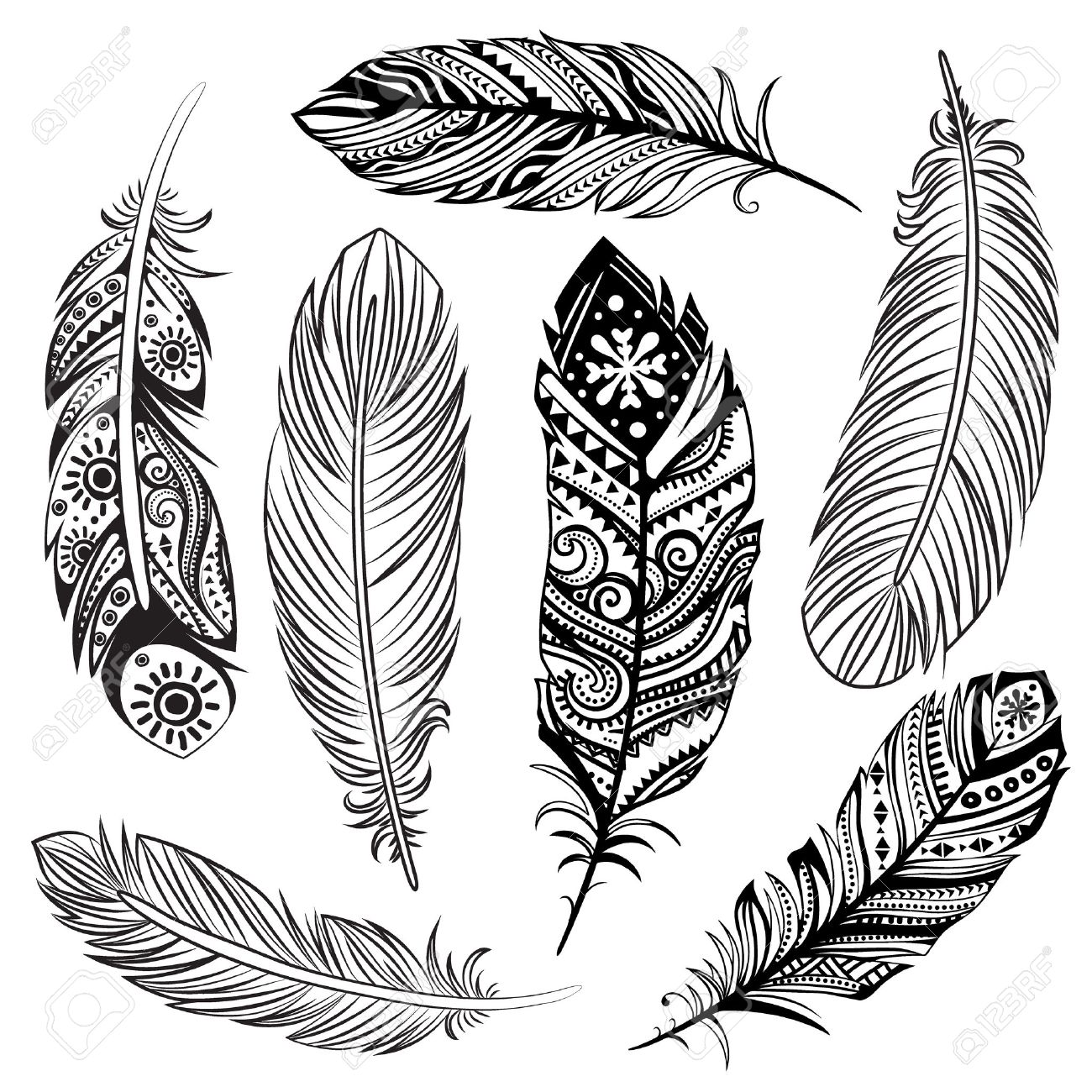 Isolated Set of black ethnic tribal feathers Stock Vector - 25633723