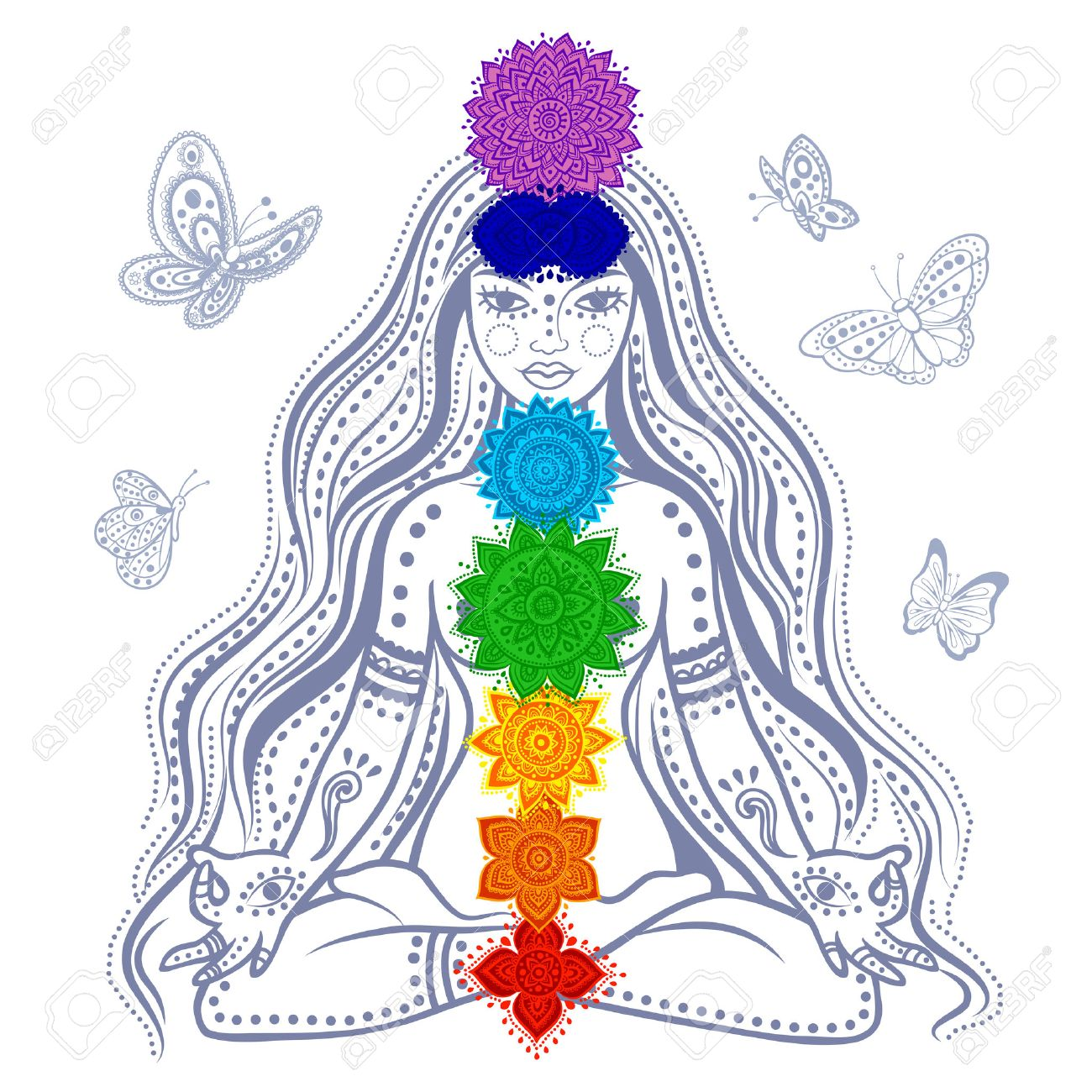 Illustration of a Girl with 7 chakras and butterflies Stock Vector - 26526006