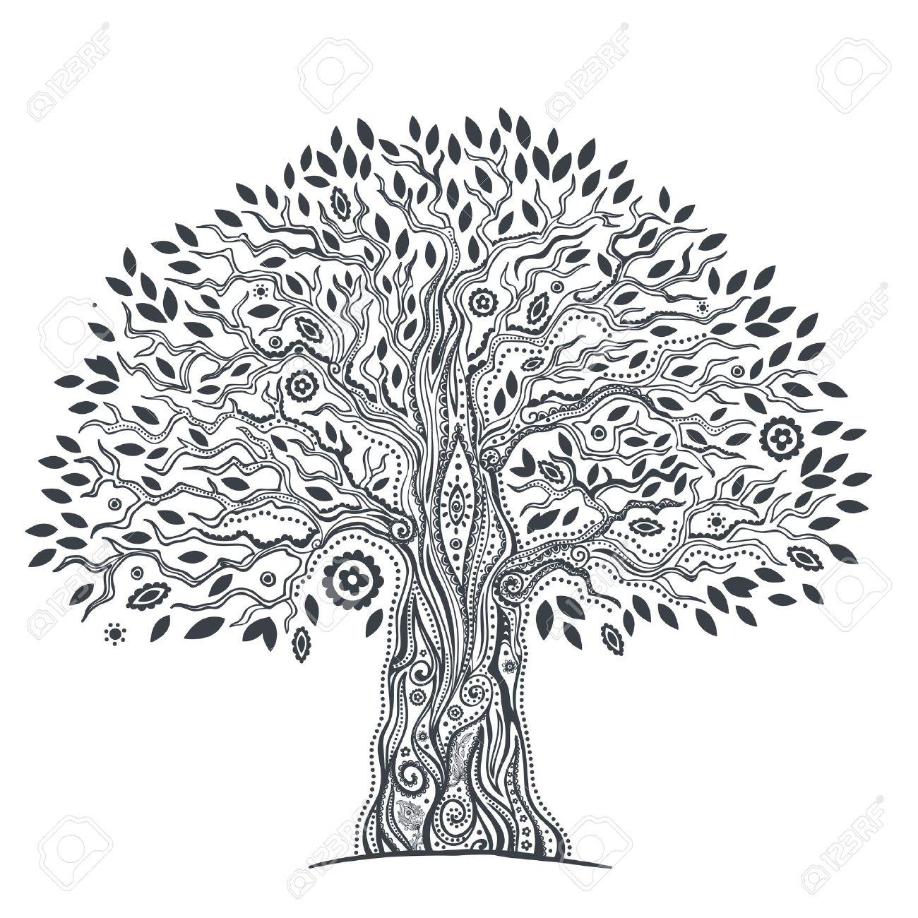 Schöne Einzigartige Ethnische Baum Des Lebens Darstellung Lizenzfrei