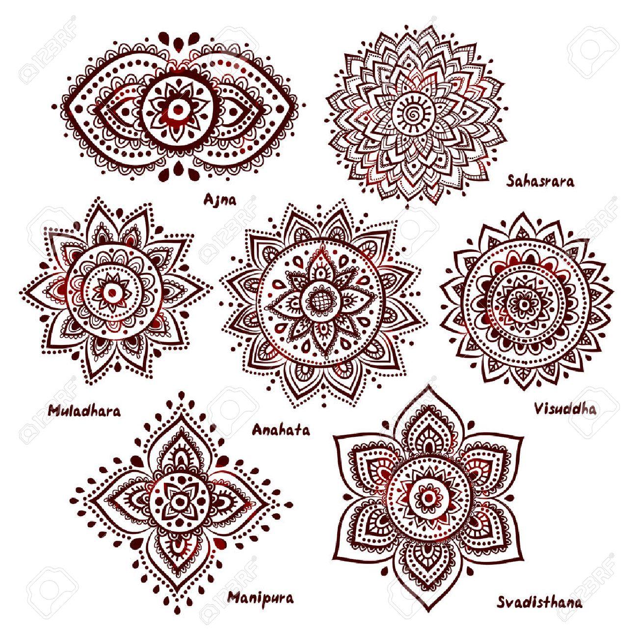 Isolated Set of beautiful ornamental 7 chakras Stock Vector - 28869577