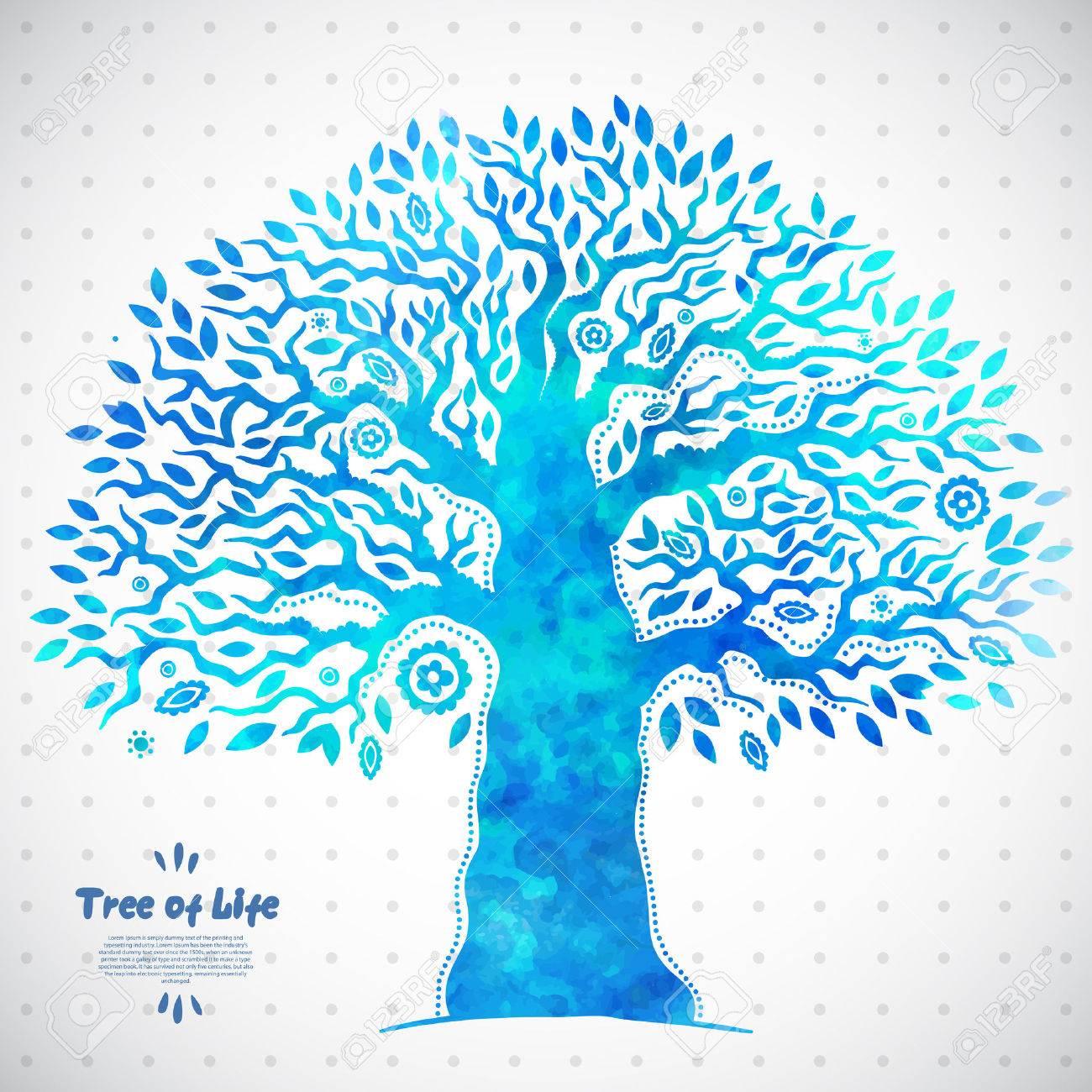 a8d0865179c7 Beautiful vector único de la acuarela del árbol de la vida étnica Foto de  archivo -