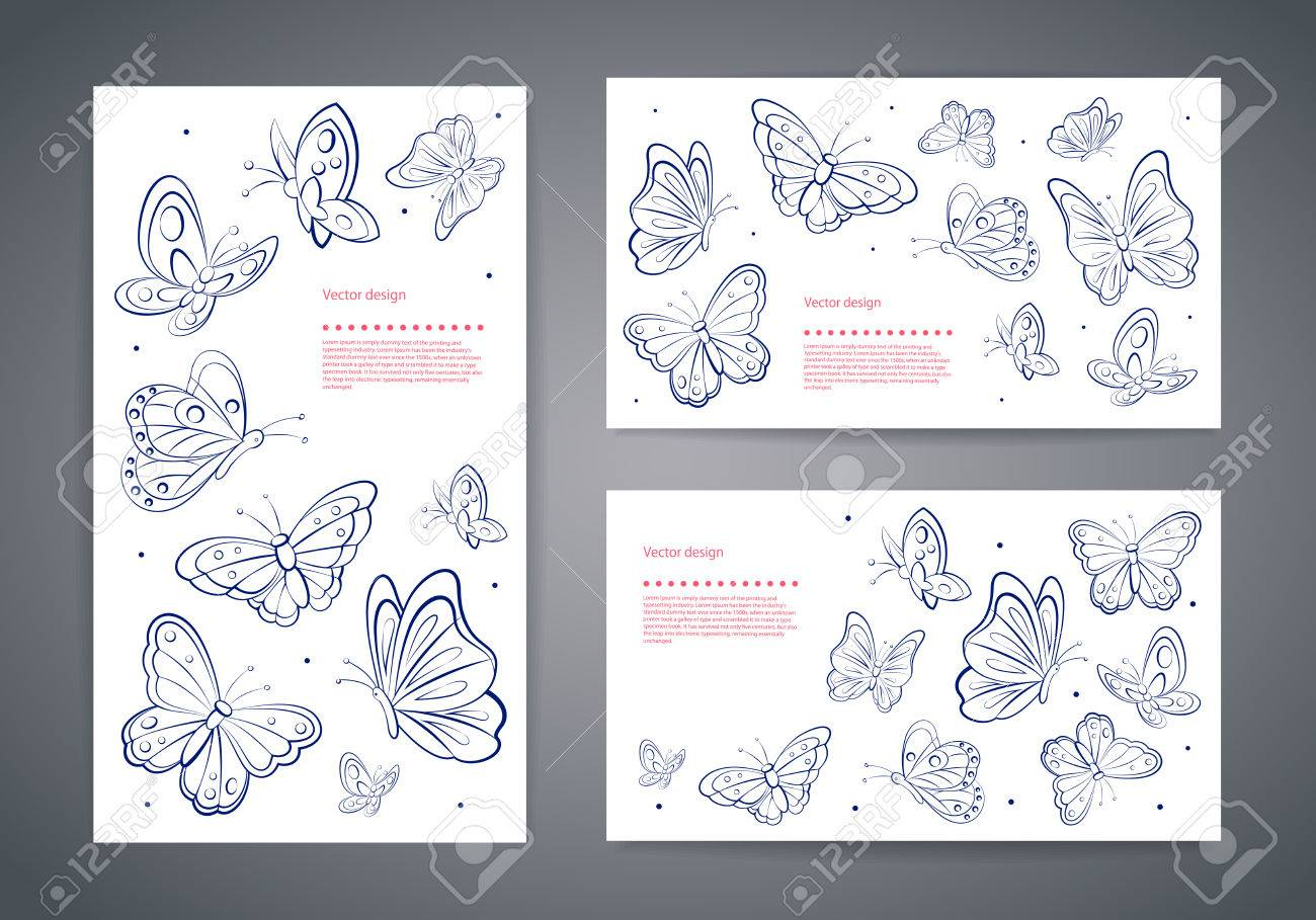 Set Of Beautiful Vector Butterfly Business Cards Royalty Free ...