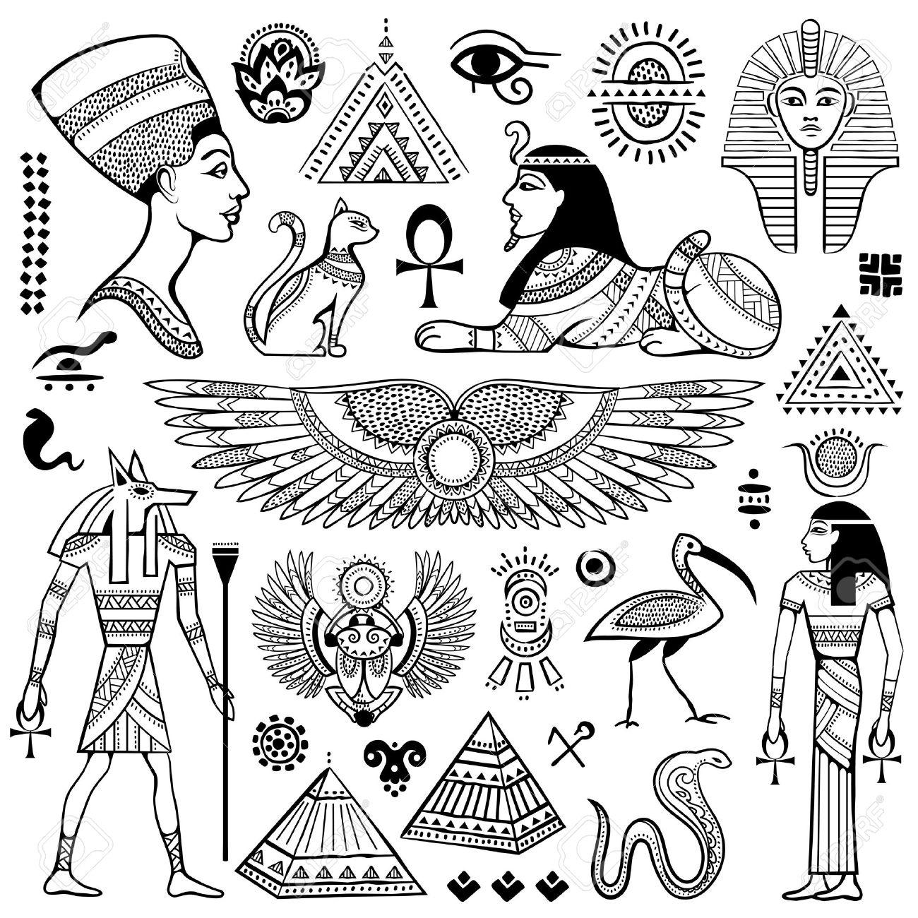 Ensemble De Vector Isole Symboles Et Objets Egypte Clip Art Libres