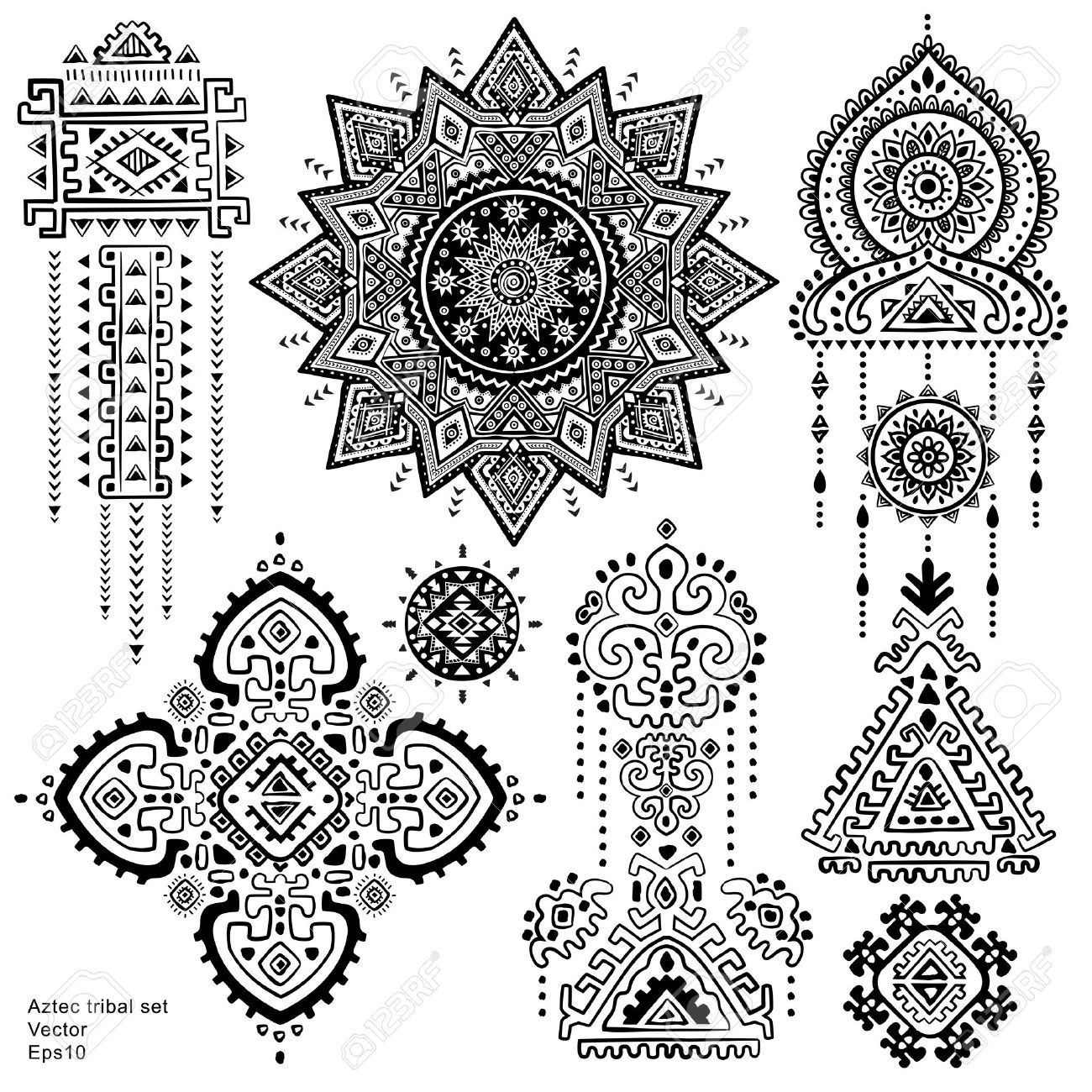 Set Of Isolated Ornamental Tribal Elements And Symbols Royalty Free