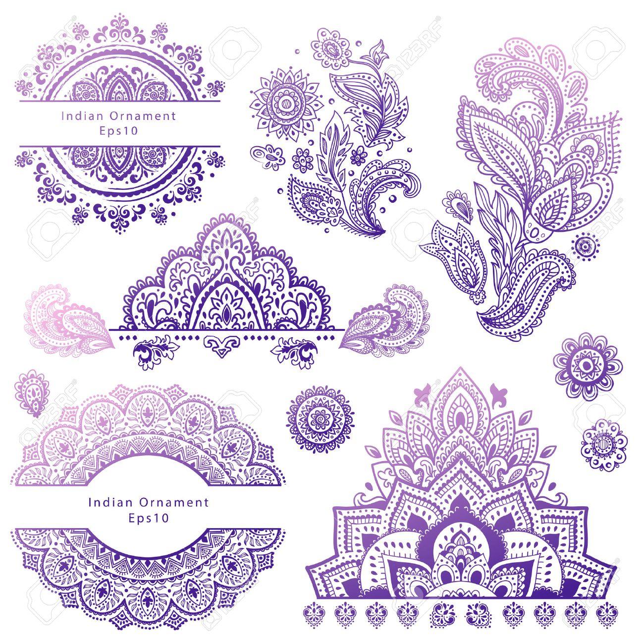 Conjunto De Indios Adornos Florales Mandala Alhena Ilustraciones - Mandalas-indios