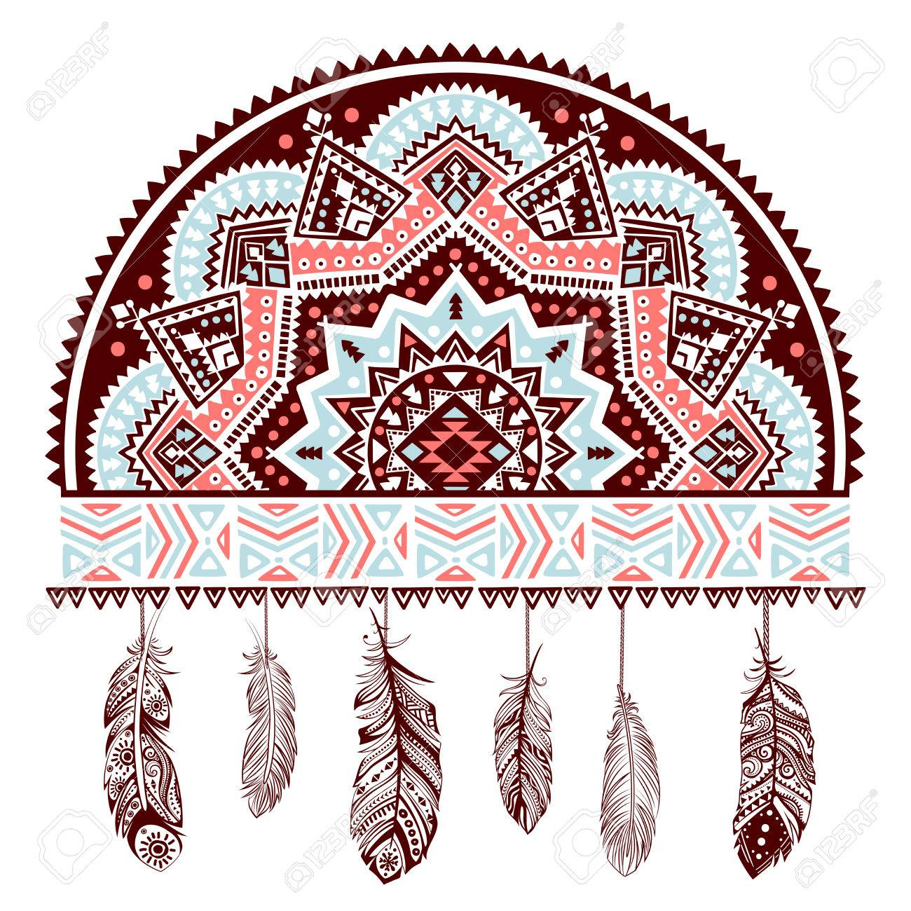 Ethnic American Indian Dream Catcher Can Be Used As A Greeting
