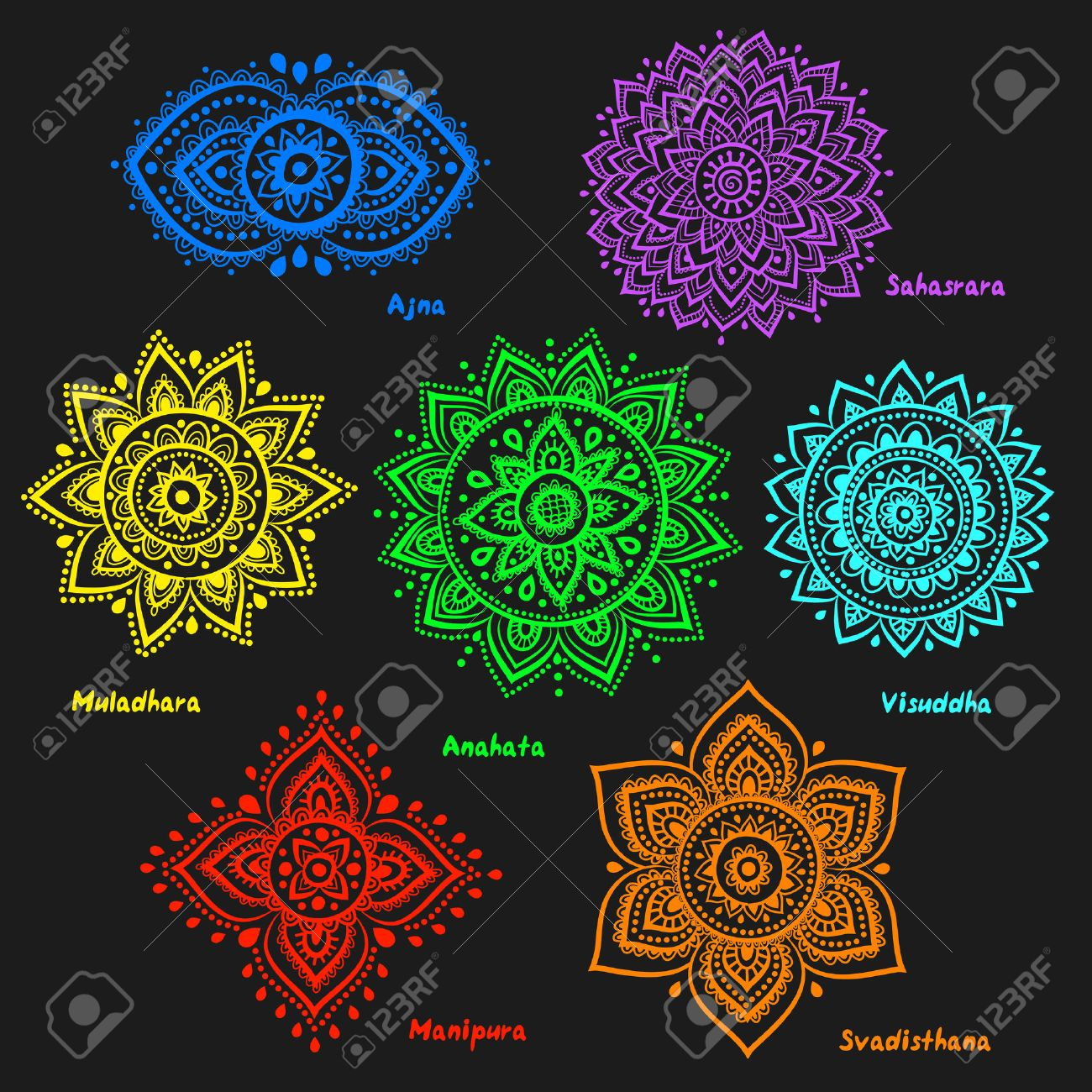 Isolated Set Of Beautiful Ornamental 7 Chakras Stock Vector