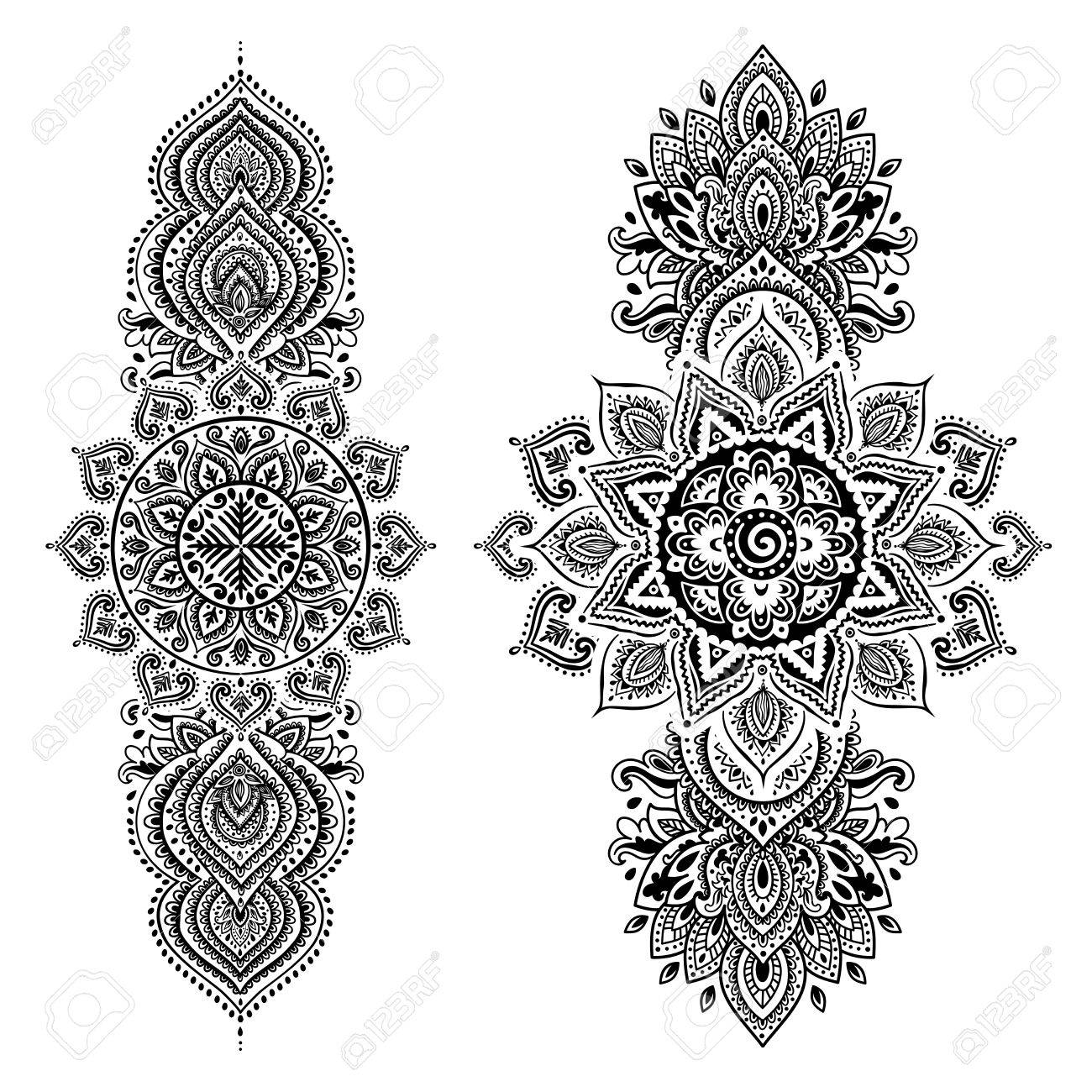 Set Of Ornamental Indian Elements And Symbols Royalty Free Cliparts