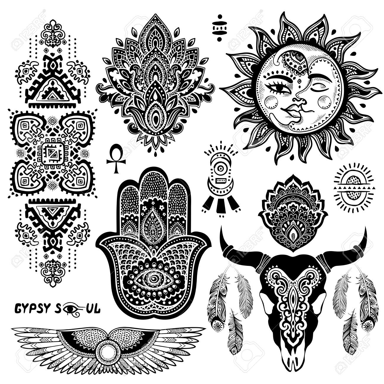 bohemian style vector flash tattoo symbols set royalty free cliparts