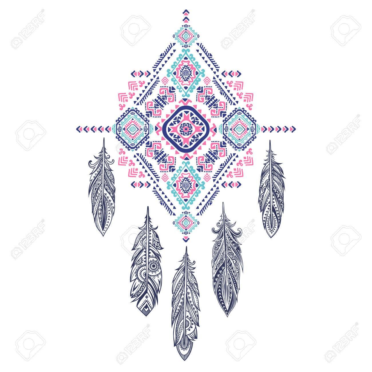 Vector Aztec Mexicain Ornement Tribal De Receveur Reve Ethnique Africain Conception Tatouage Pourrait Etre Utilise Comme Carte