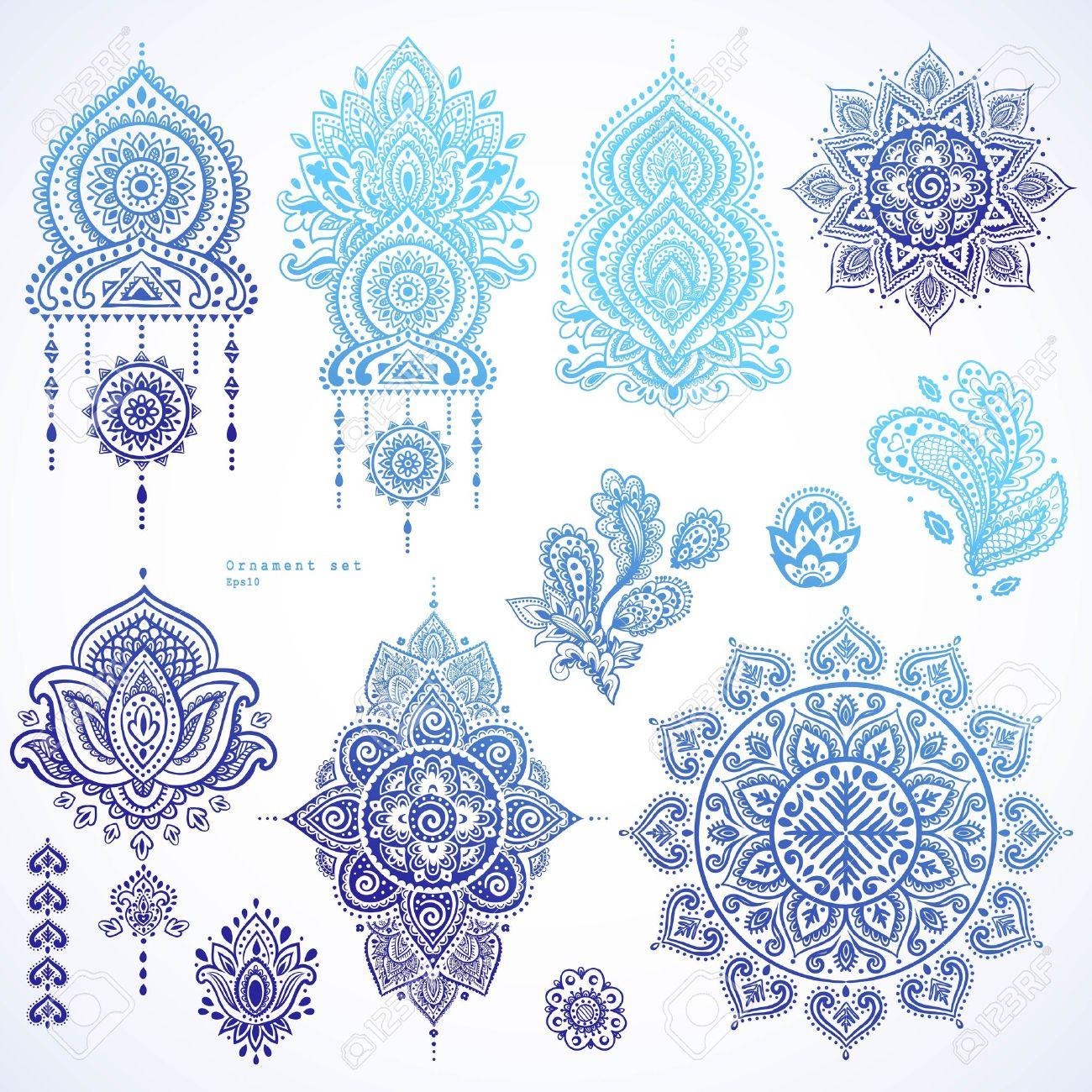 Vector set of Indian floral paisley ornaments. Persian Ethnic Mandala lotus icon. Henna tattoo style banners could be used as greeting card, business card, phone case print, shirt print, coloring book - 66460163
