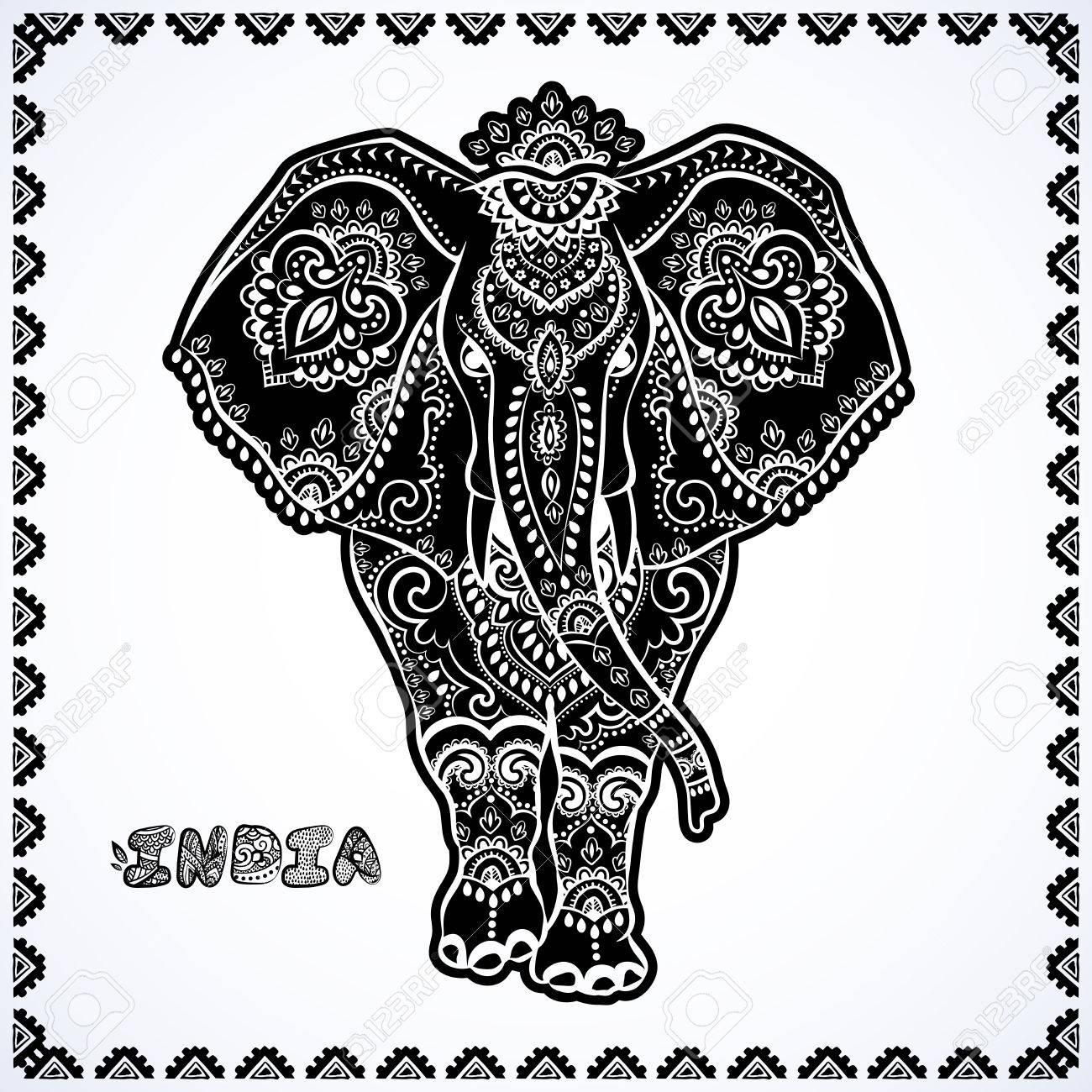 Vintage Gráfico Vectorial De Loto Elefante Indio étnico. Ornamento ...