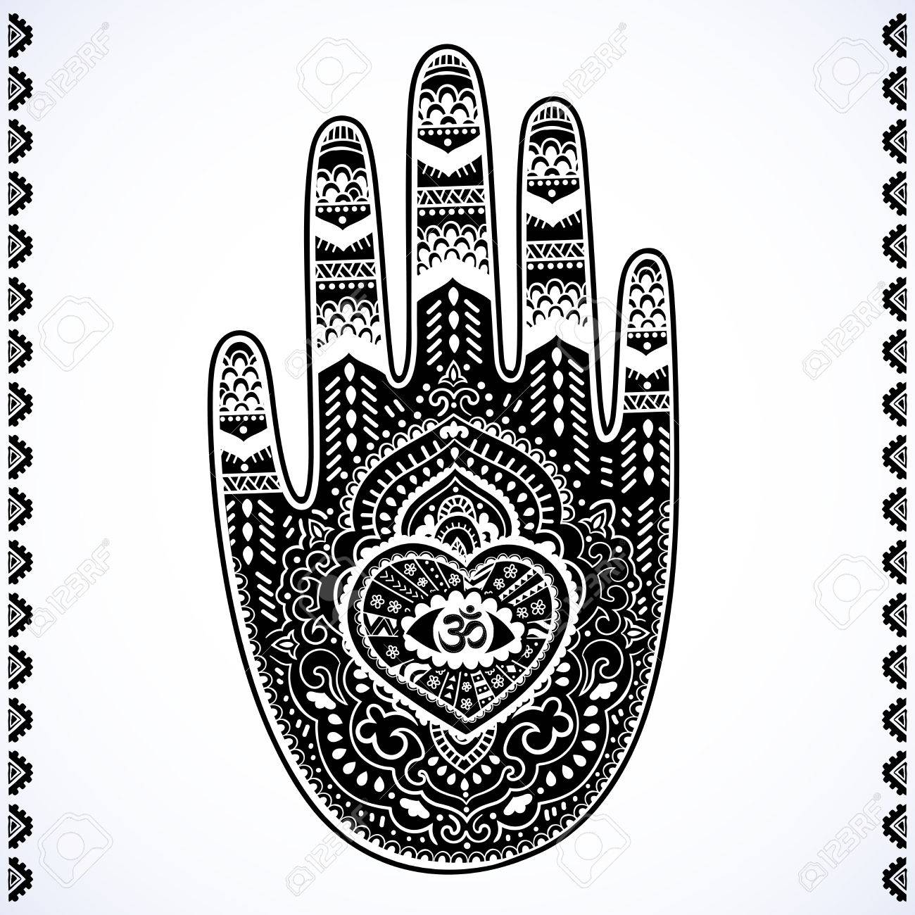 99bce30d2 Vector - Vector Indian hand drawn hamsa symbol ornament print. Ethnic  Mandala towel. Vector Henna tattoo style. Can be used for textile, greeting  business ...