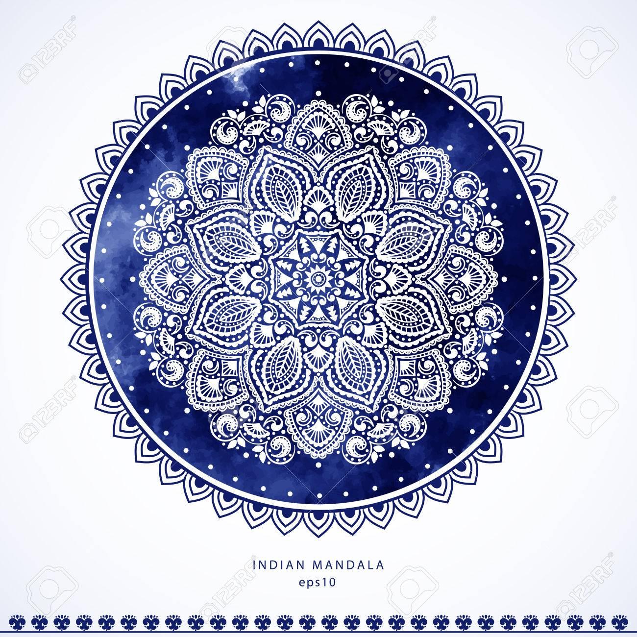 Impresión India Toalla Mandala. Estilo Del Tatuaje De La Alheña De ...