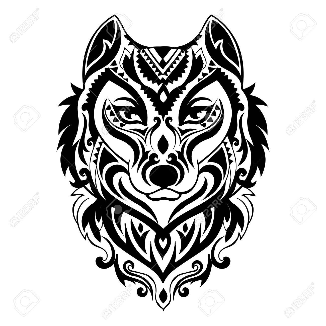 Vector Tribal Style Wolf Totem Tattoo With Ethnic Ornaments