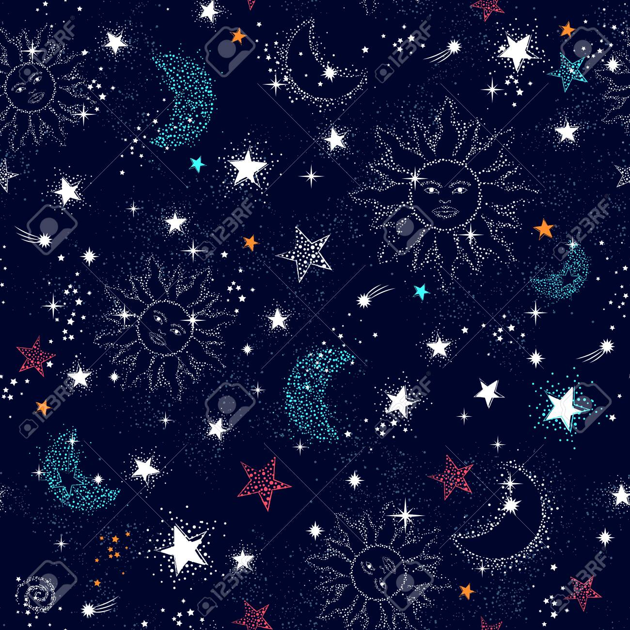 Space Galaxy constellation seamless pattern print could be used for textile, zodiac star yoga mat, phone case - 131078289