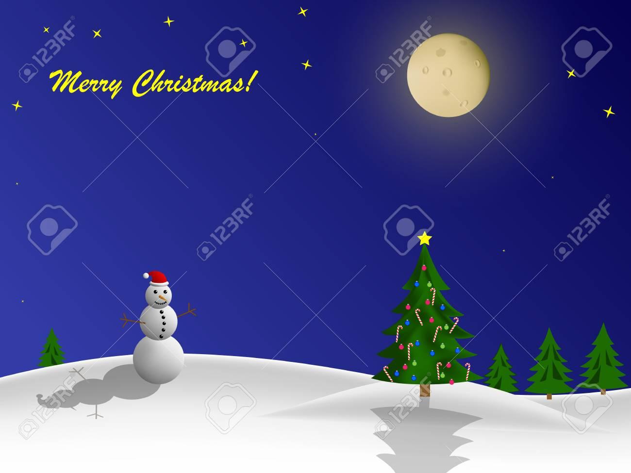 Christmas greeting card with snowman and christmas tree Stock Vector - 16798320