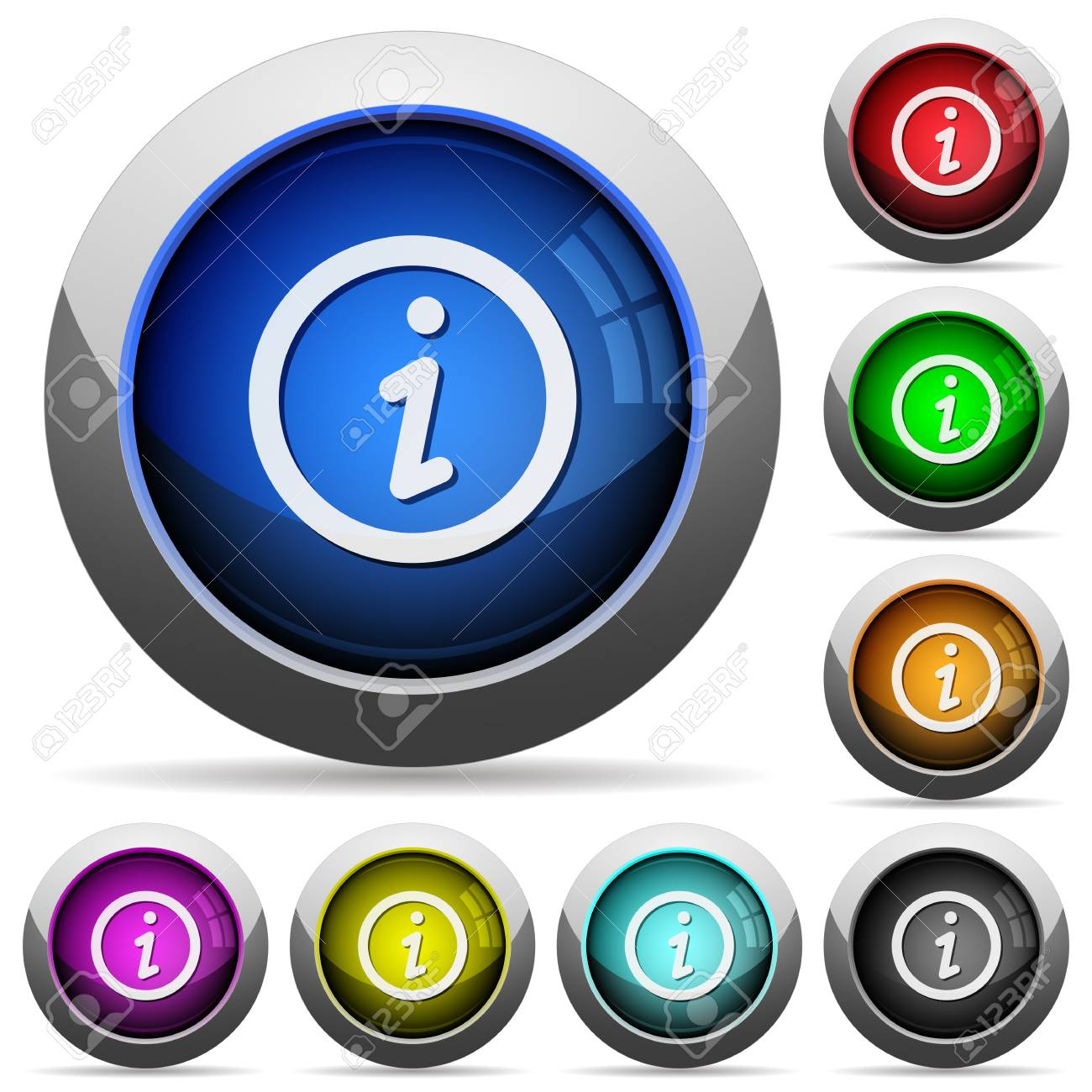 Set of round glossy information buttons. Arranged layer structure. - 48366382