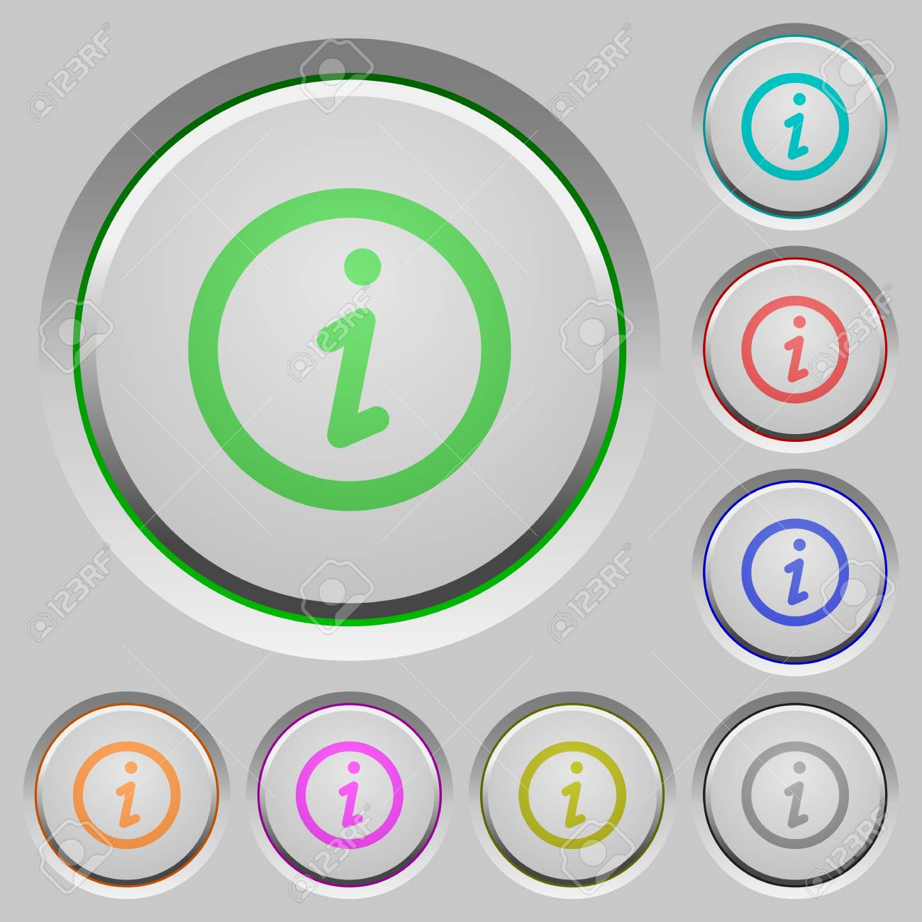 Set of Information sunk push buttons. Well-organized layer, color swatch and graphic style structure. Easy to recolor. - 48772172
