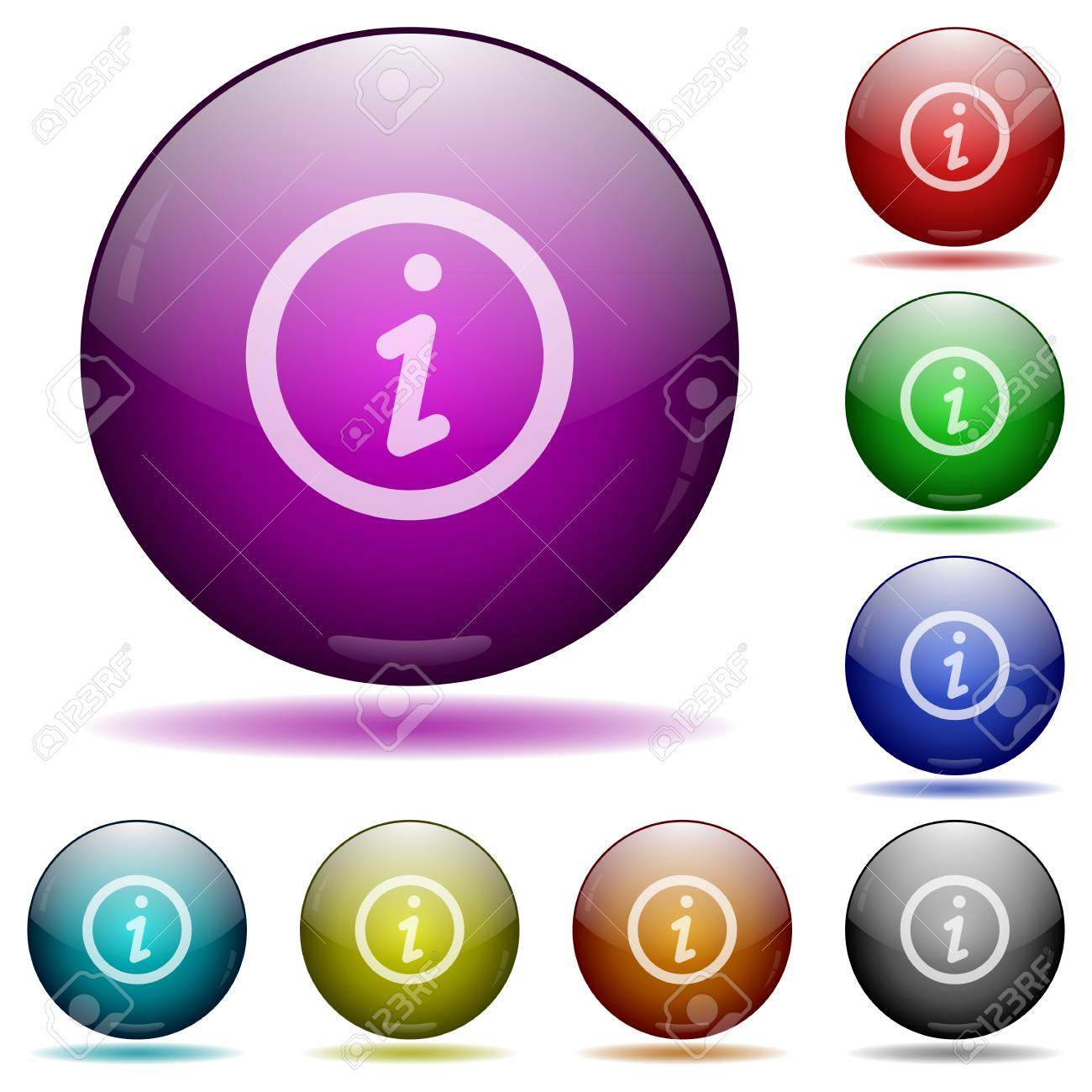 Set of color information glass sphere buttons with shadows. Arranged layer structure. - 48894819